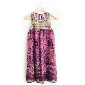 Xhilaration Purple Paisley Sleeveless Short Dress
